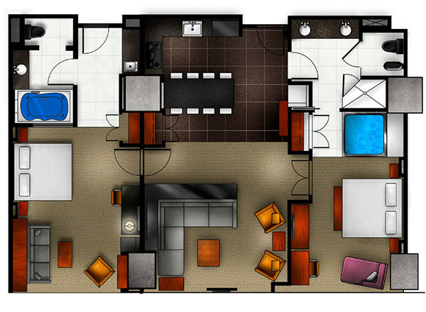 elara 2 bedroom suite. Elara Las Vegas 2 bedroom floor plan Suite  a Hilton Grand vacations king Premier