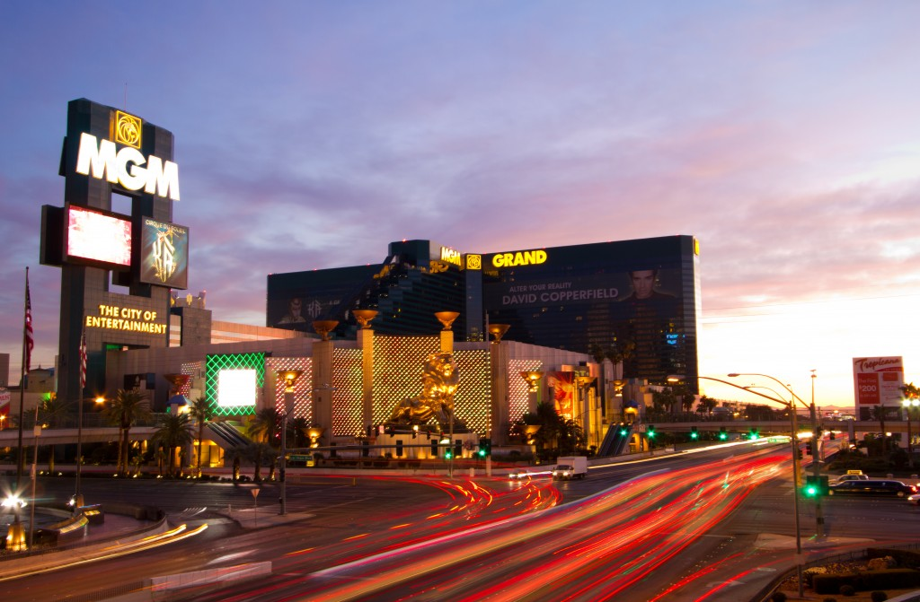 The MGM Grand during the  dusk.
